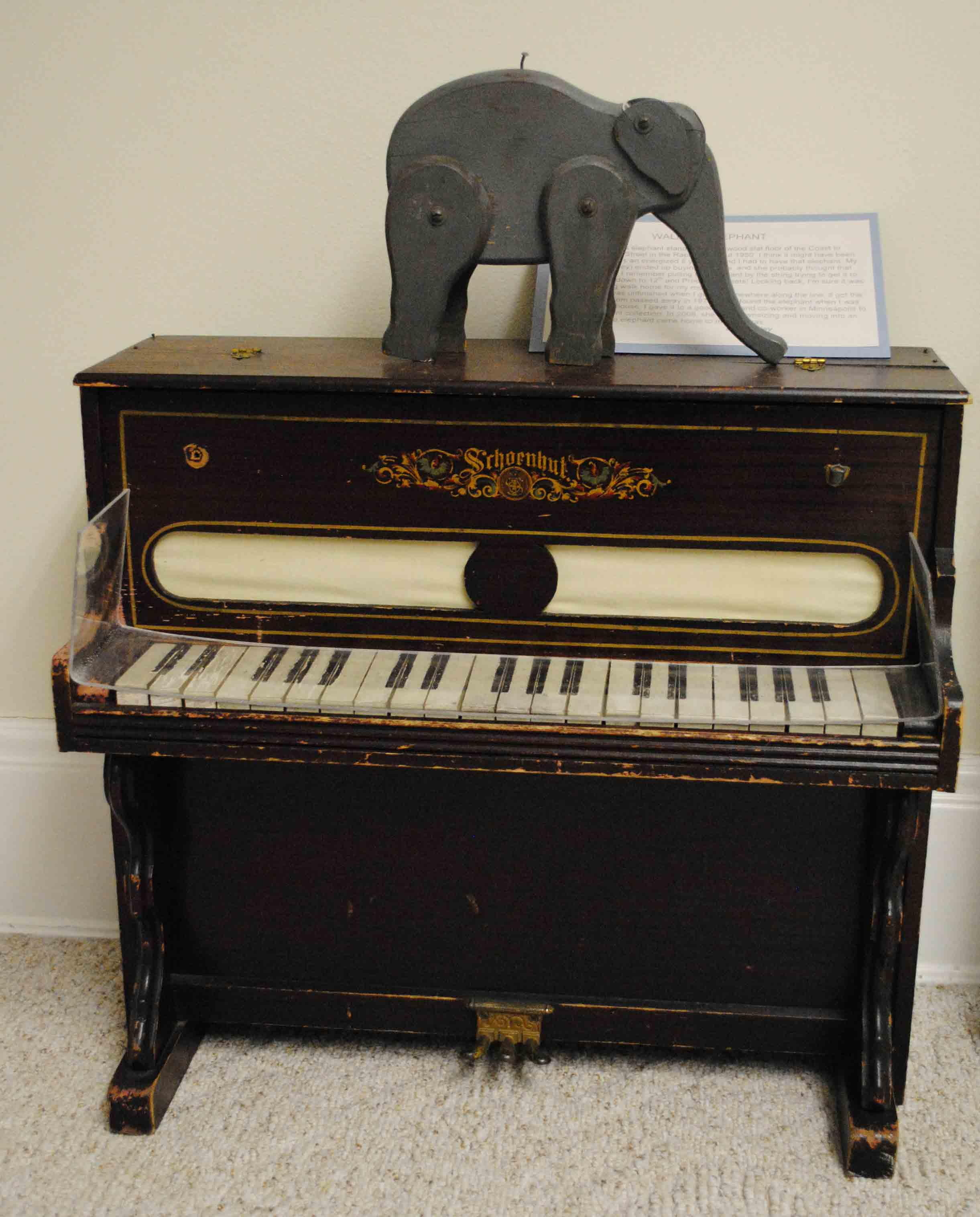 Toy elephant and piano in the toy room